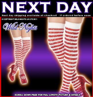 Christmas Dress on Christmas Fancy Dress   Red   White Sparkle Thigh High Lurex Stockings